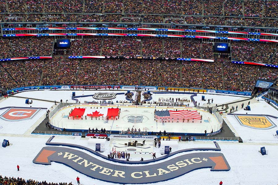 Das Giulette Stadion in Boston beim Winter Game der NHL.